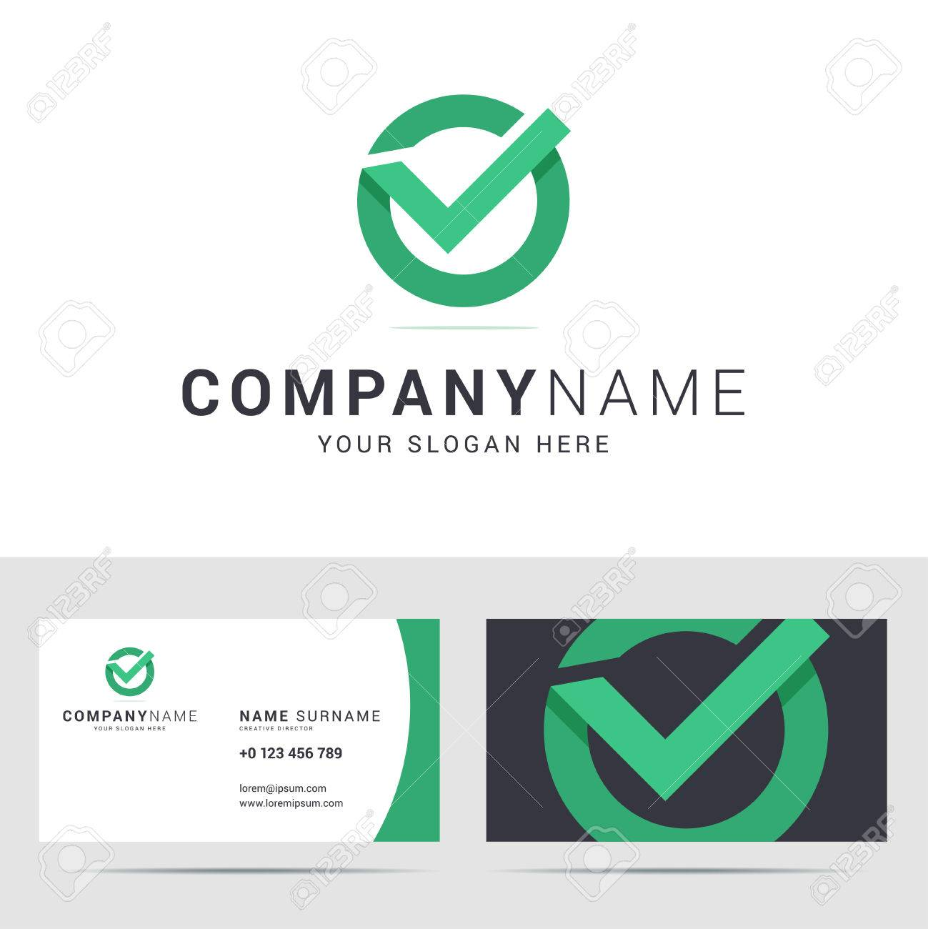 Business card template in flat style check mark icon checkbox business card template in flat style check mark icon checkbox sign origami style jeuxipadfo Gallery