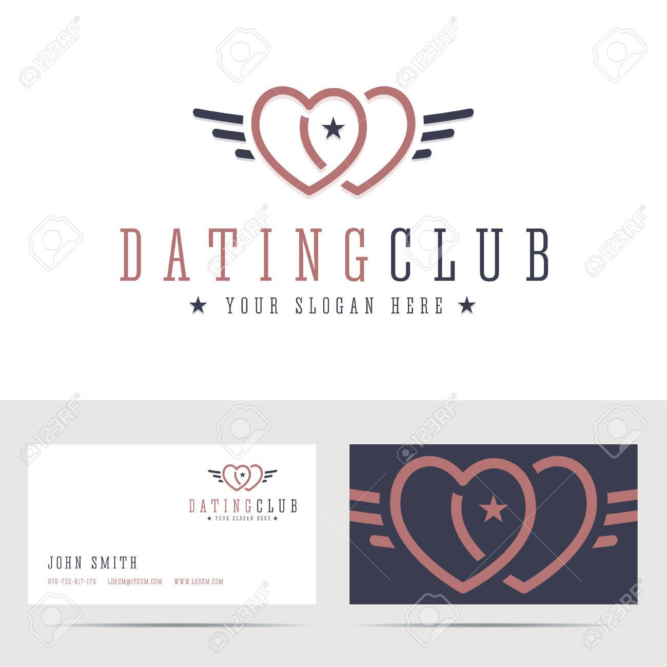 Dating club and business card template two hearts sign with dating club and business card template two hearts sign with angel wings online dating reheart Image collections