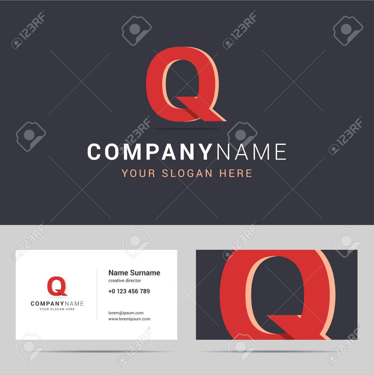 Template And Business Card Template. With Q Letter Sign. Two ...