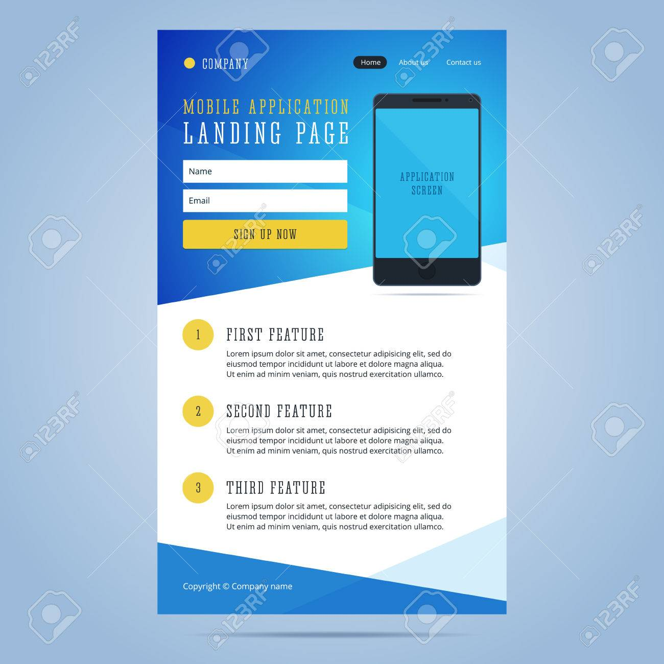 Landing Page For Mobile Application Promotion Newsletter Email