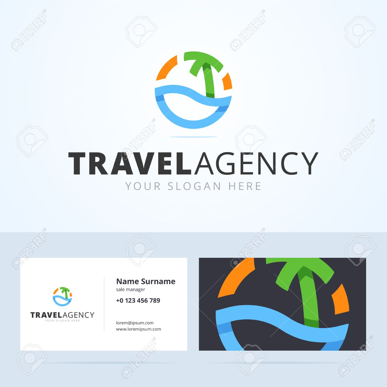 Logo And Business Card Template For Travel Agency. Origami ...
