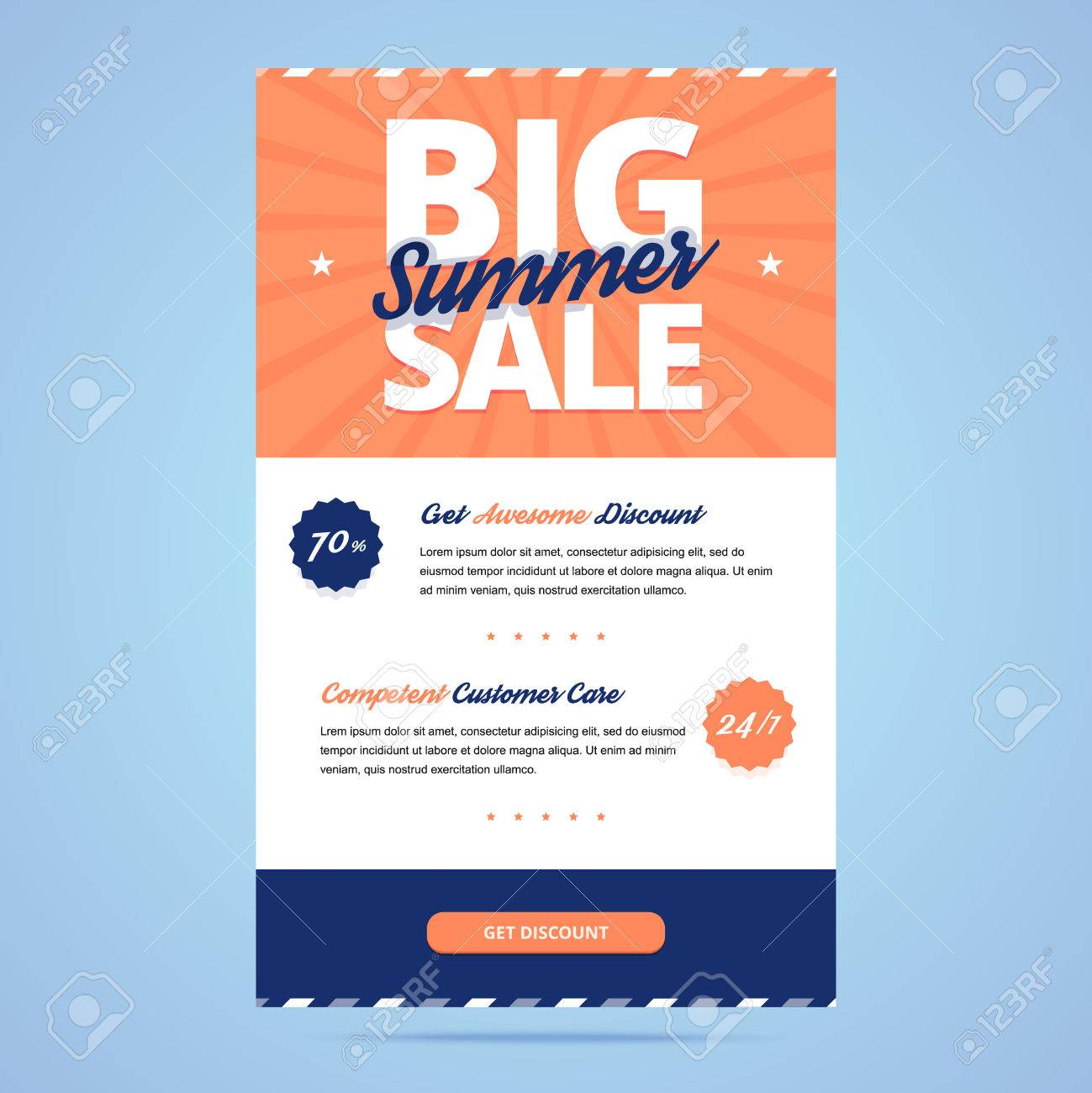 Big Summer Sale Newsletter Template. Email Layout In Flat Style ...