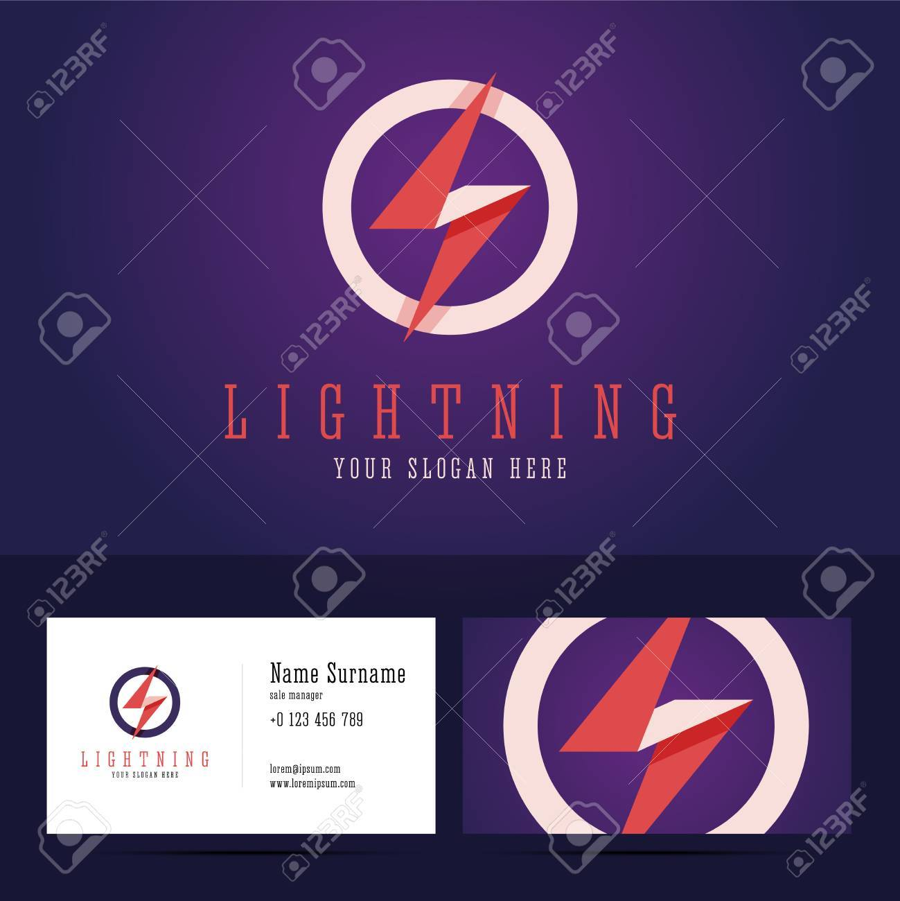 Lightning Logo And Business Card Template. Flat Style With ...