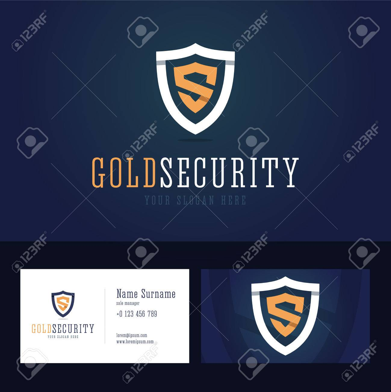 Gold Security Icon And Business Card Template. Shield Sign In ...