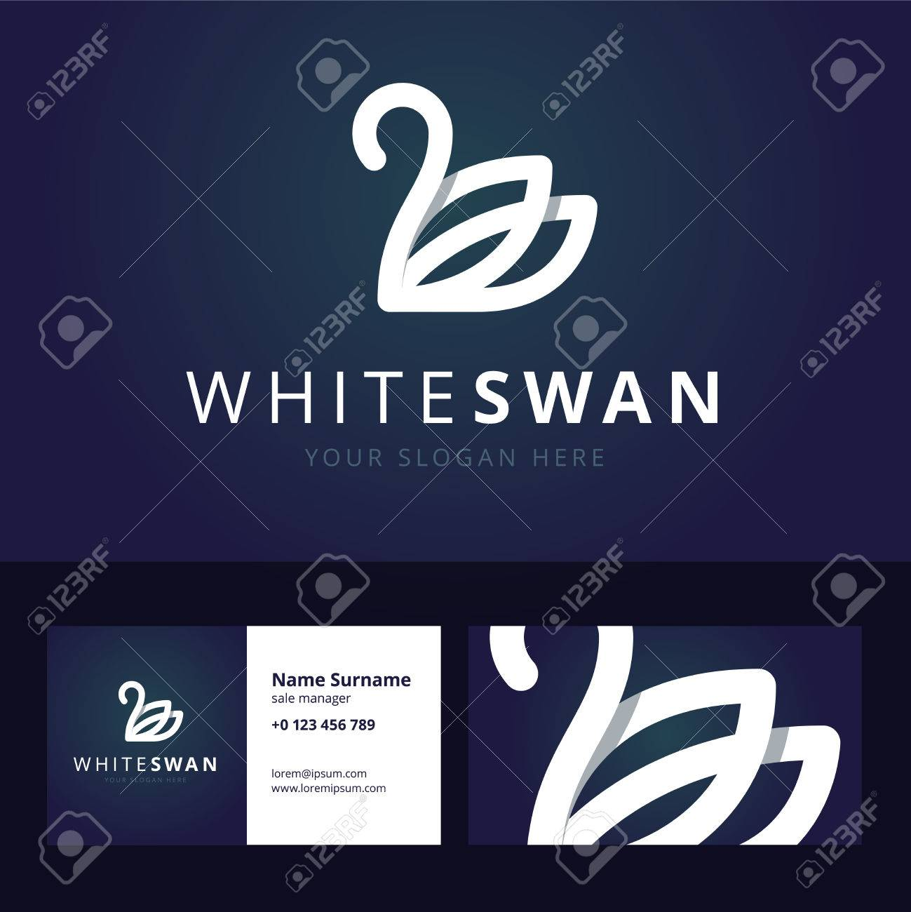 White Swan Icon And Business Card Template Sign In Line
