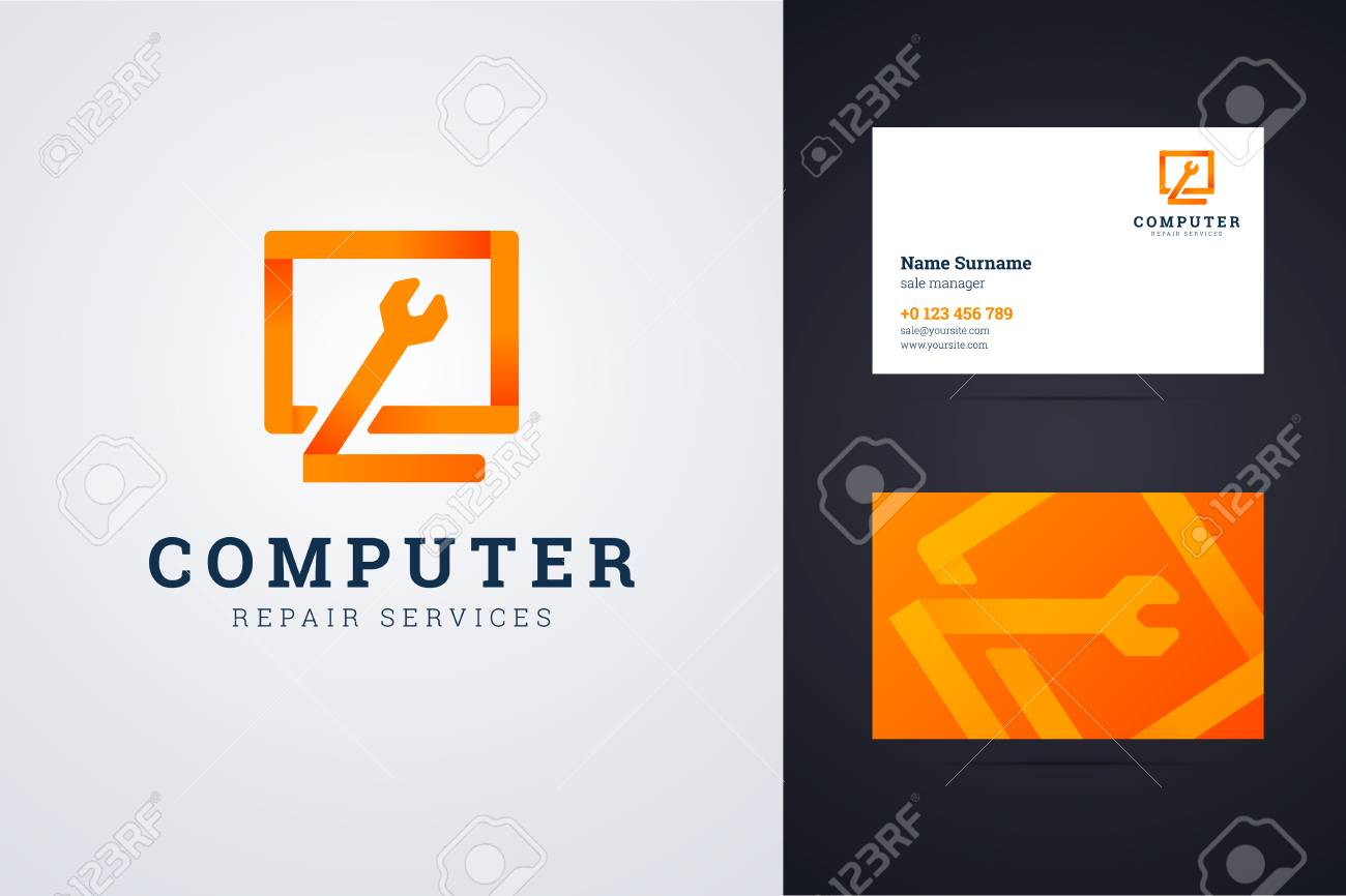 Computer Repair Service And Business Card Template Royalty Free - Computer business cards templates free
