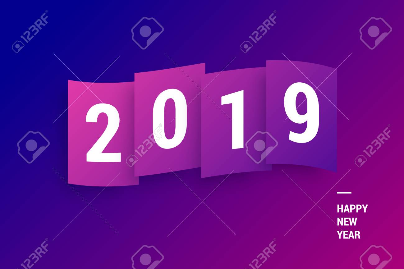 Happy New Year 2019. Colorful gradient wallpaper for greeting..