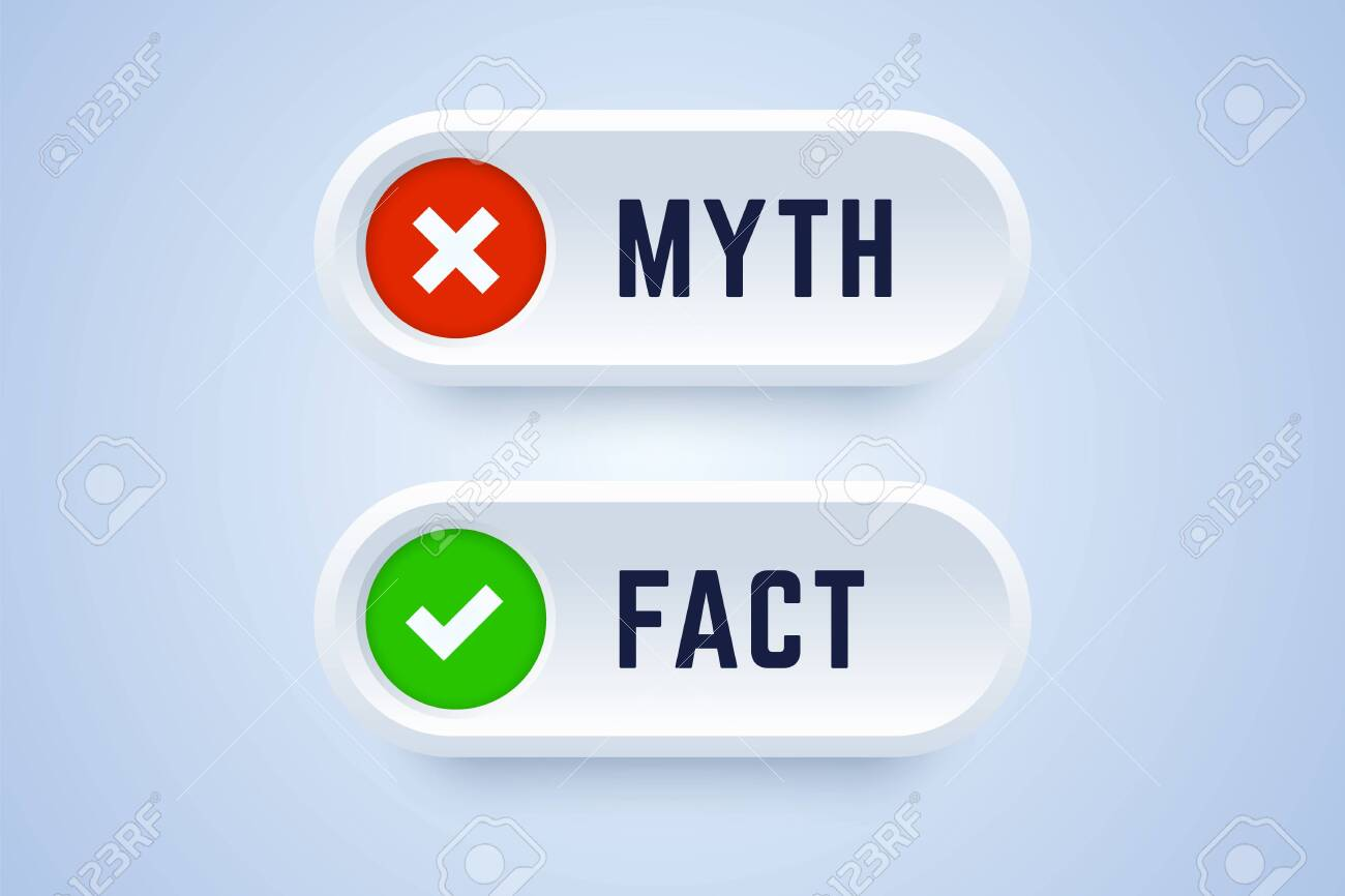 Myth and fact buttons. Banners for true or false facts in 3d style with cross and checkmark symbols. Vector illustration. - 140925383