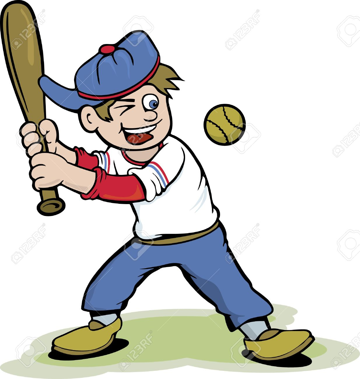 baseball kid cartoon royalty free cliparts vectors and stock rh 123rf com Baseball Silhouette Vector Baseball Laces Vector