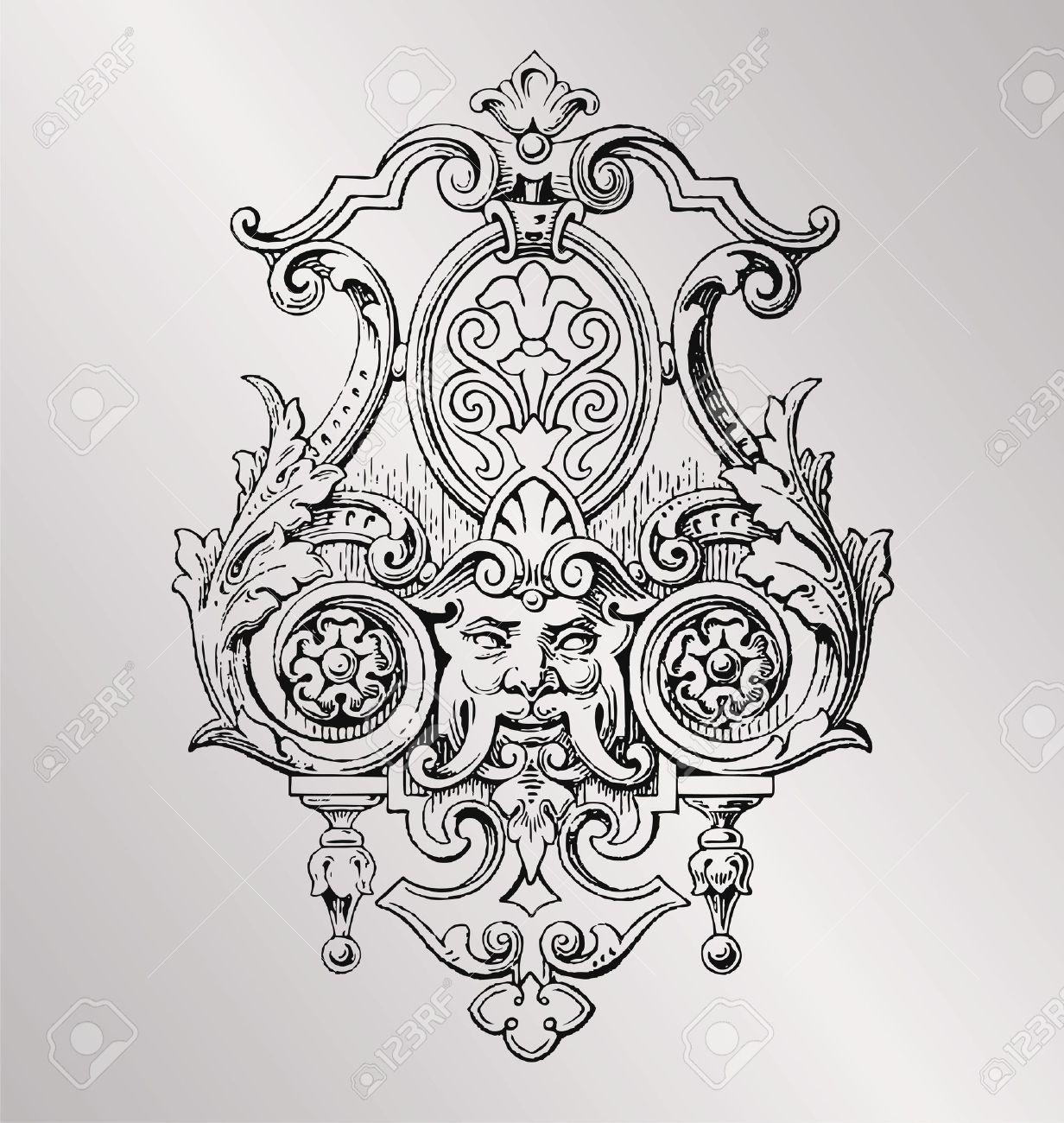 Vintage style baroque engraving decoration