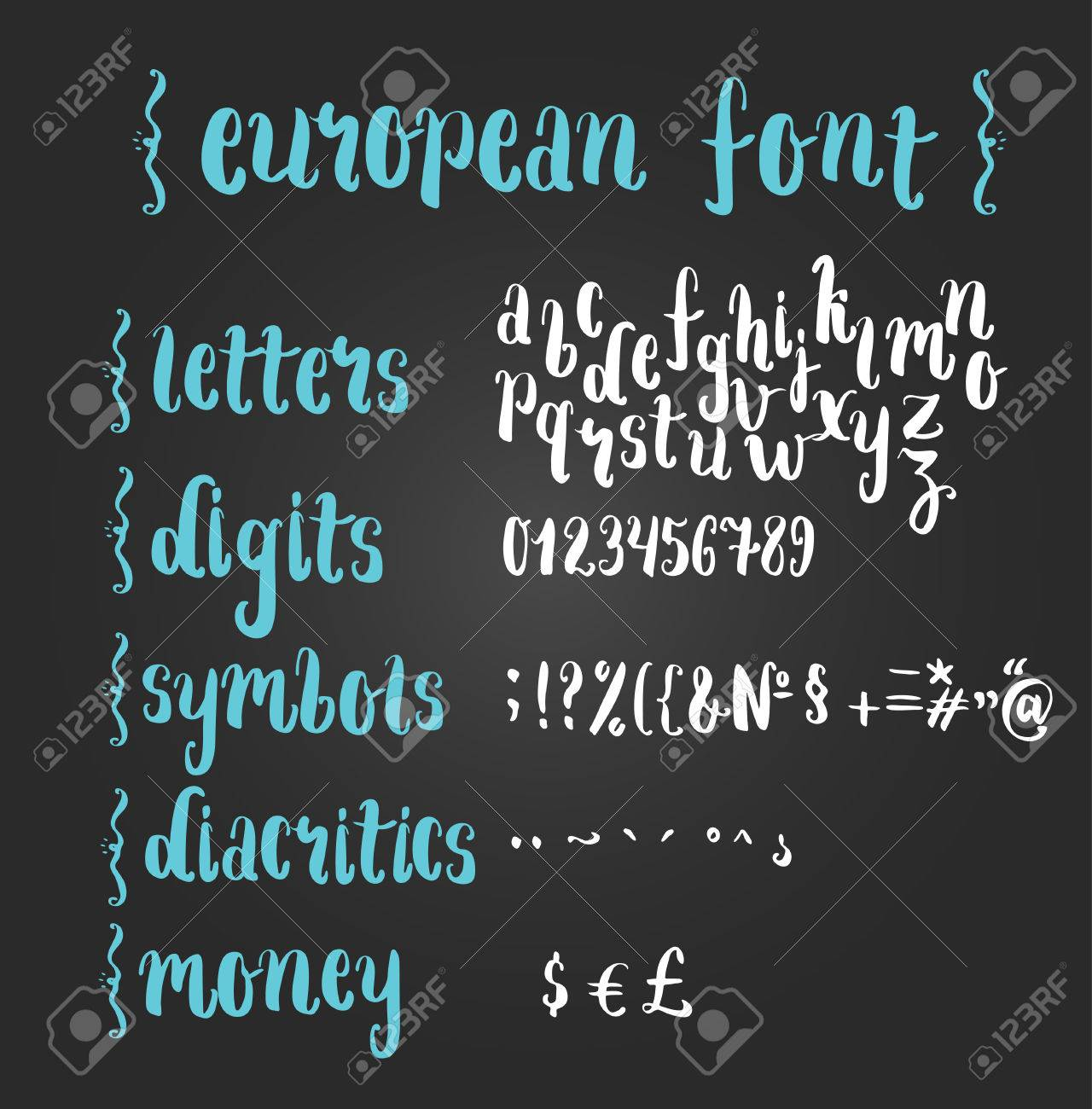 Brush script font with letters digits special signs and money brush script font with letters digits special signs and money symbols contains diacritical biocorpaavc
