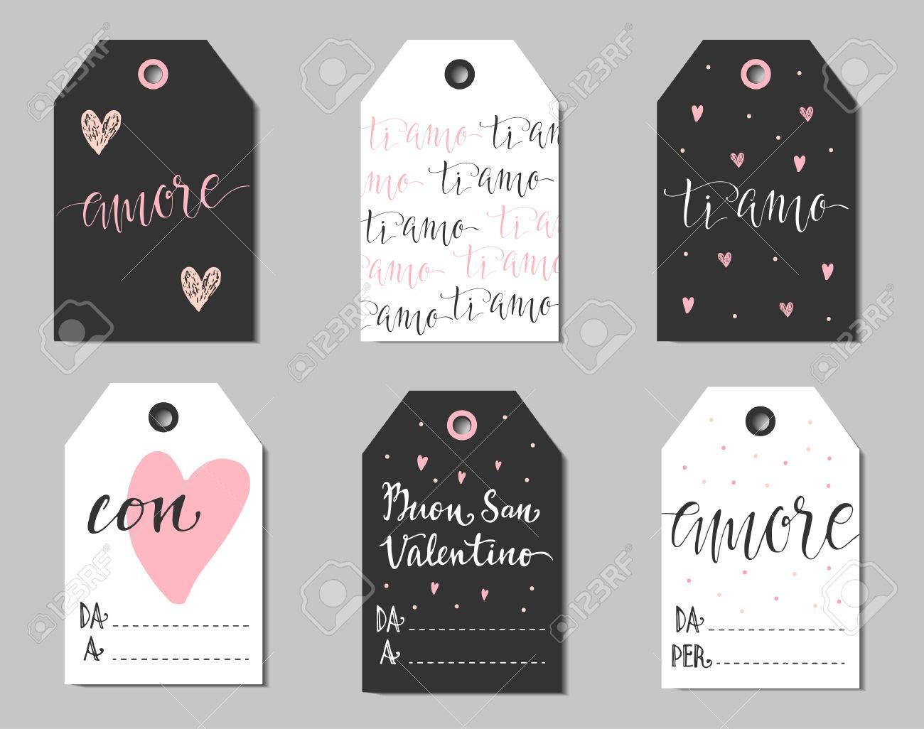 Conjunto De Etiquetas De Regalo Para El Día De San Valentín En ...