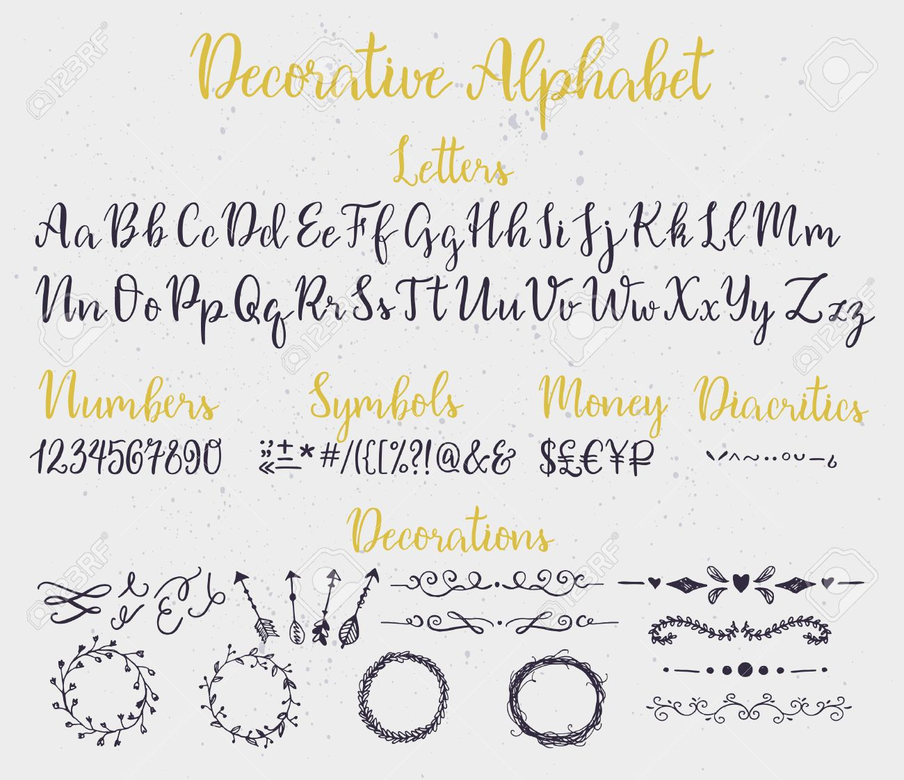 Modern Calligraphy Decorative Alphabet With Numbers Symbols