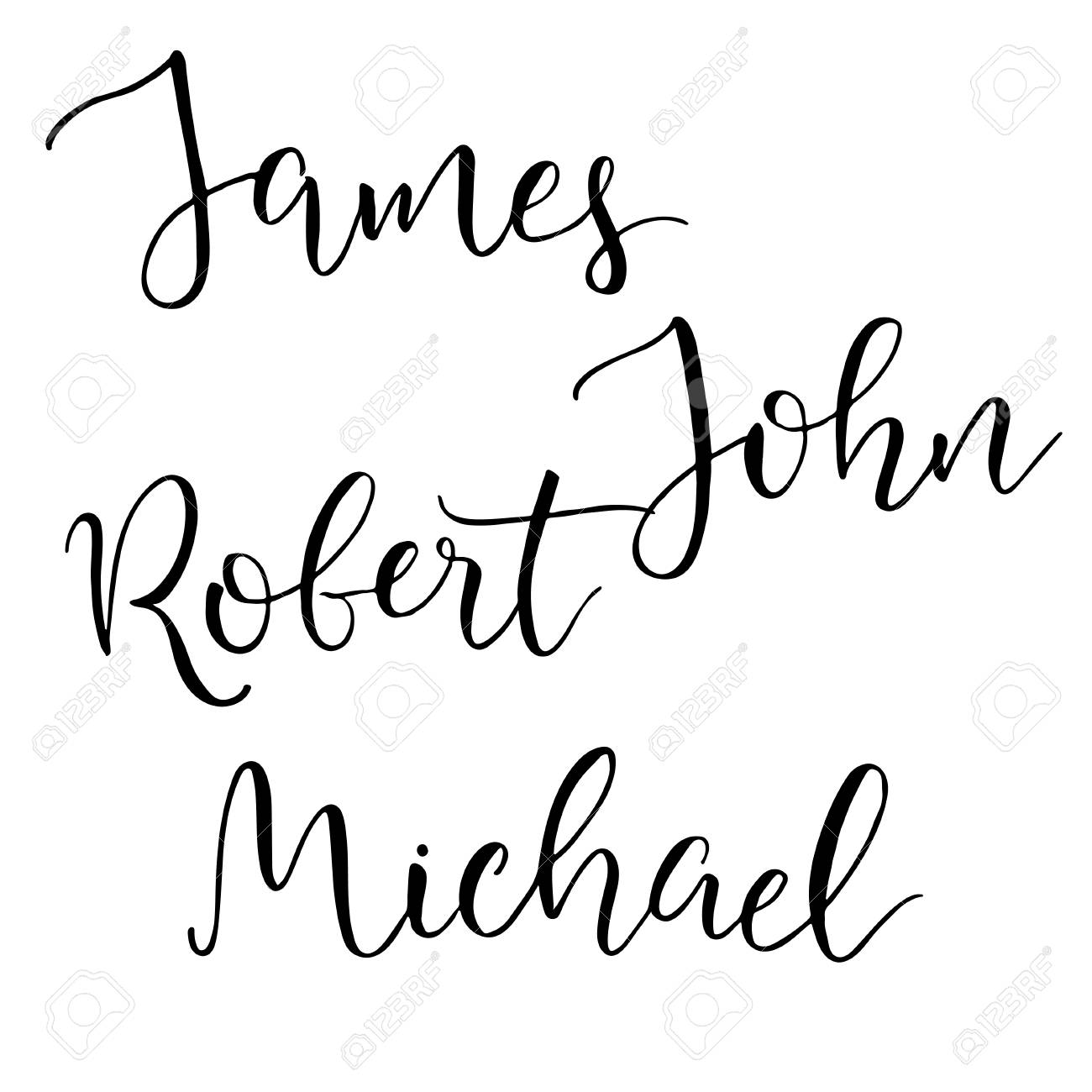 Set Of Four Common American Male Names Modern Calligraphic Style Isolated Objects Stock