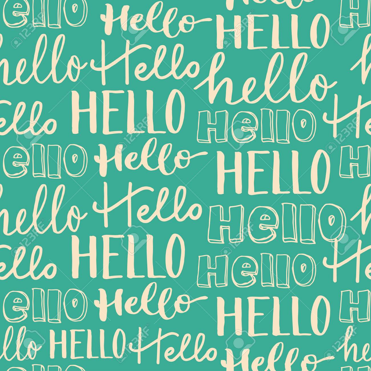 HandLettering Seamless Pattern Word Hello In Different Styles