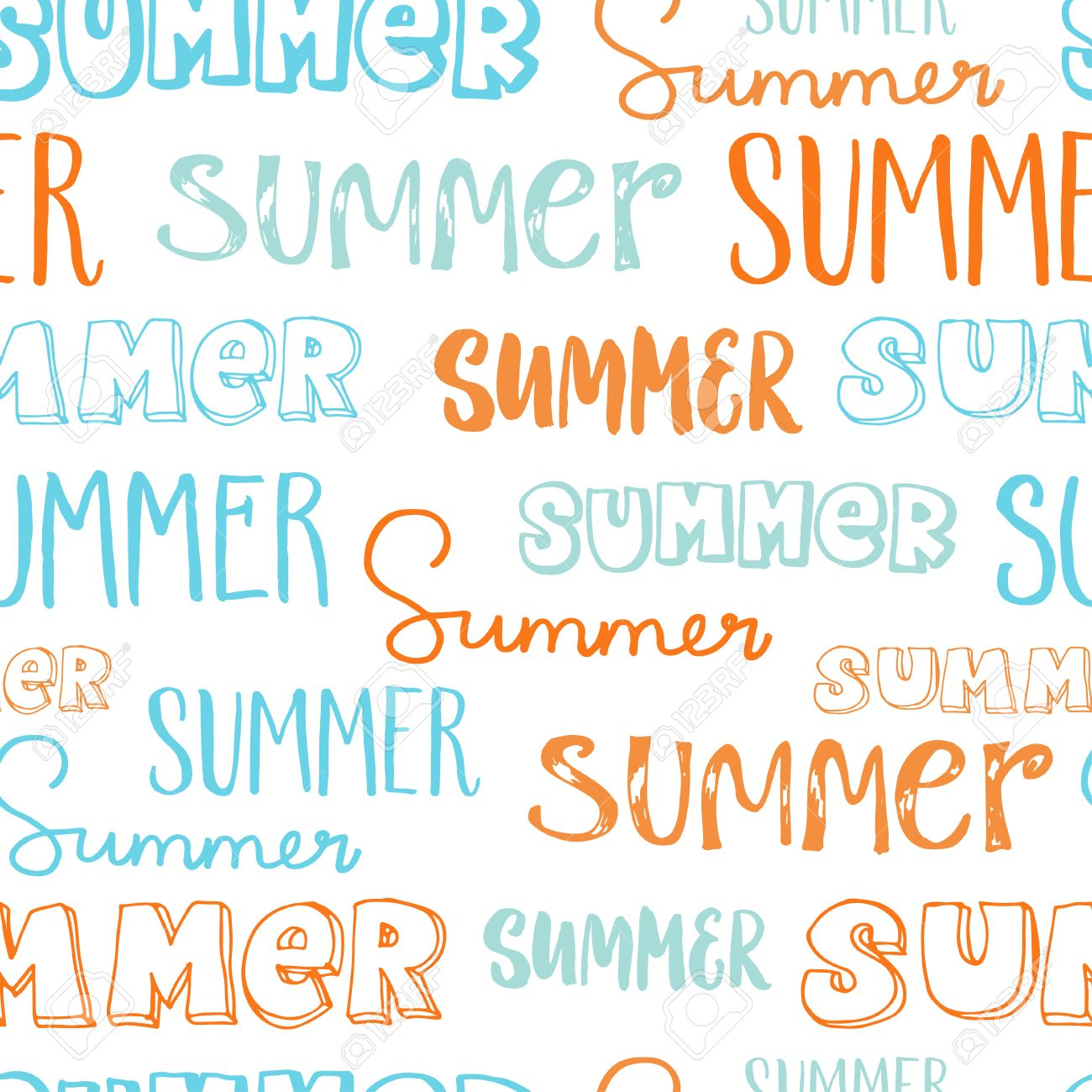 HandLettering Seamless Pattern Word Summer In Different Styles