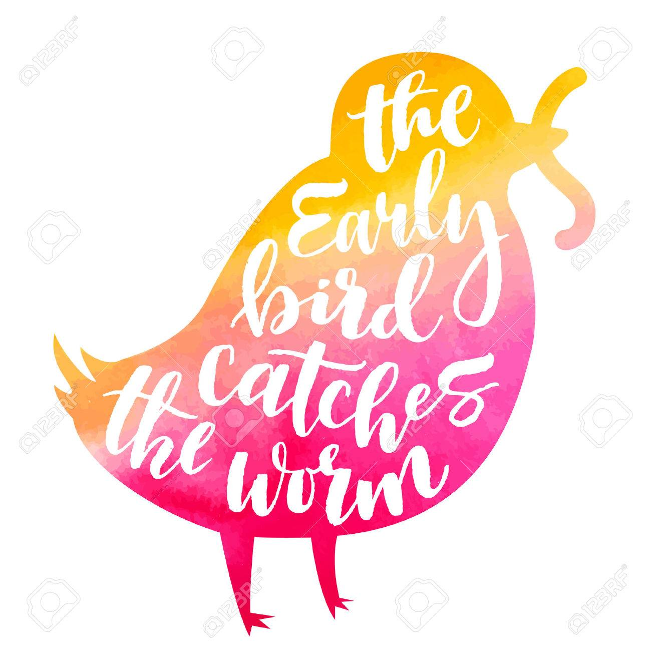 Lettering proverb early bird catches the worm. Watercolor background in silhouette. Modern calligraphy style in isolated illustration. - 59468291
