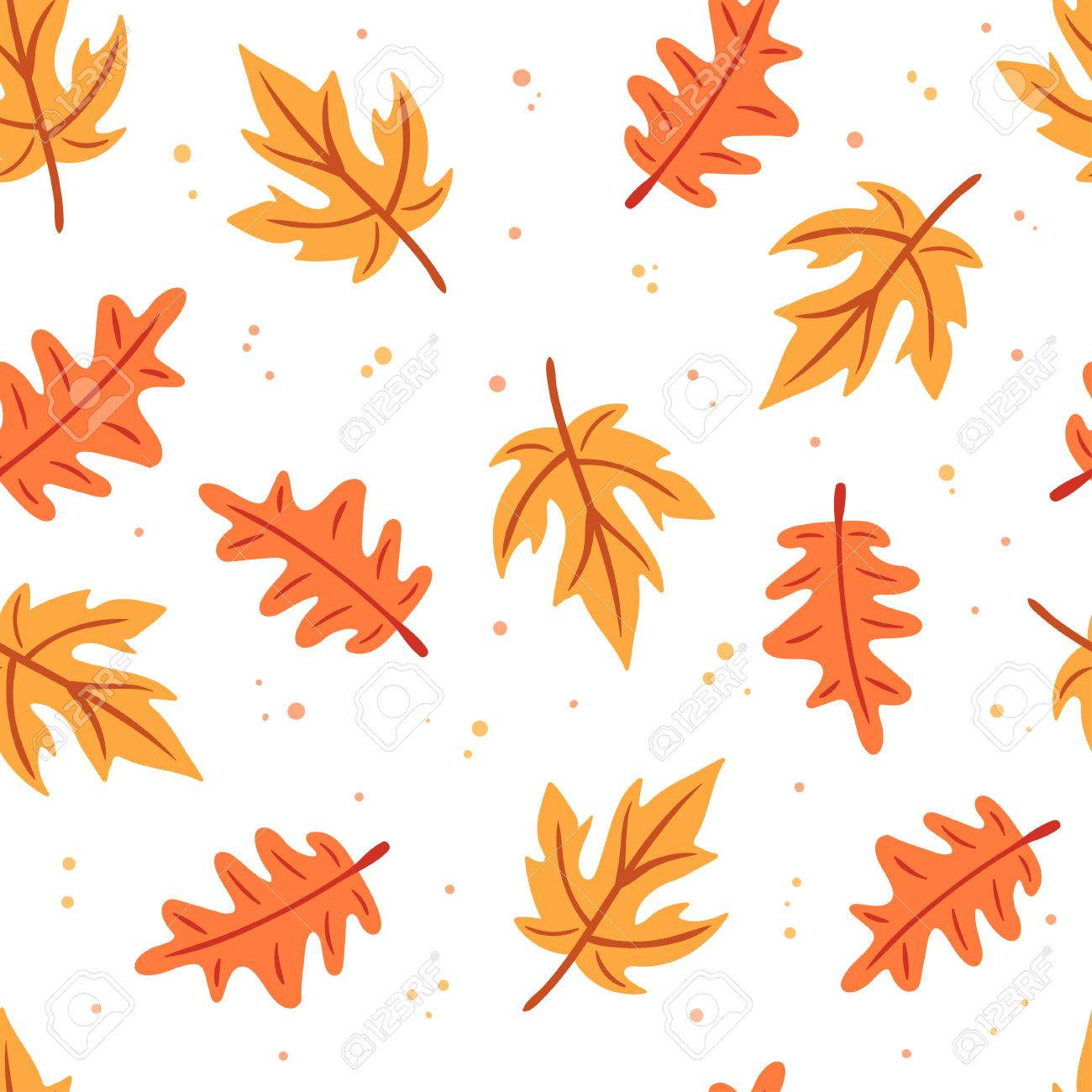 Seamless Autumn Leaves Pattern Vector Illustration On White Royalty Free Cliparts Vectors And Stock Illustration Image 84114309