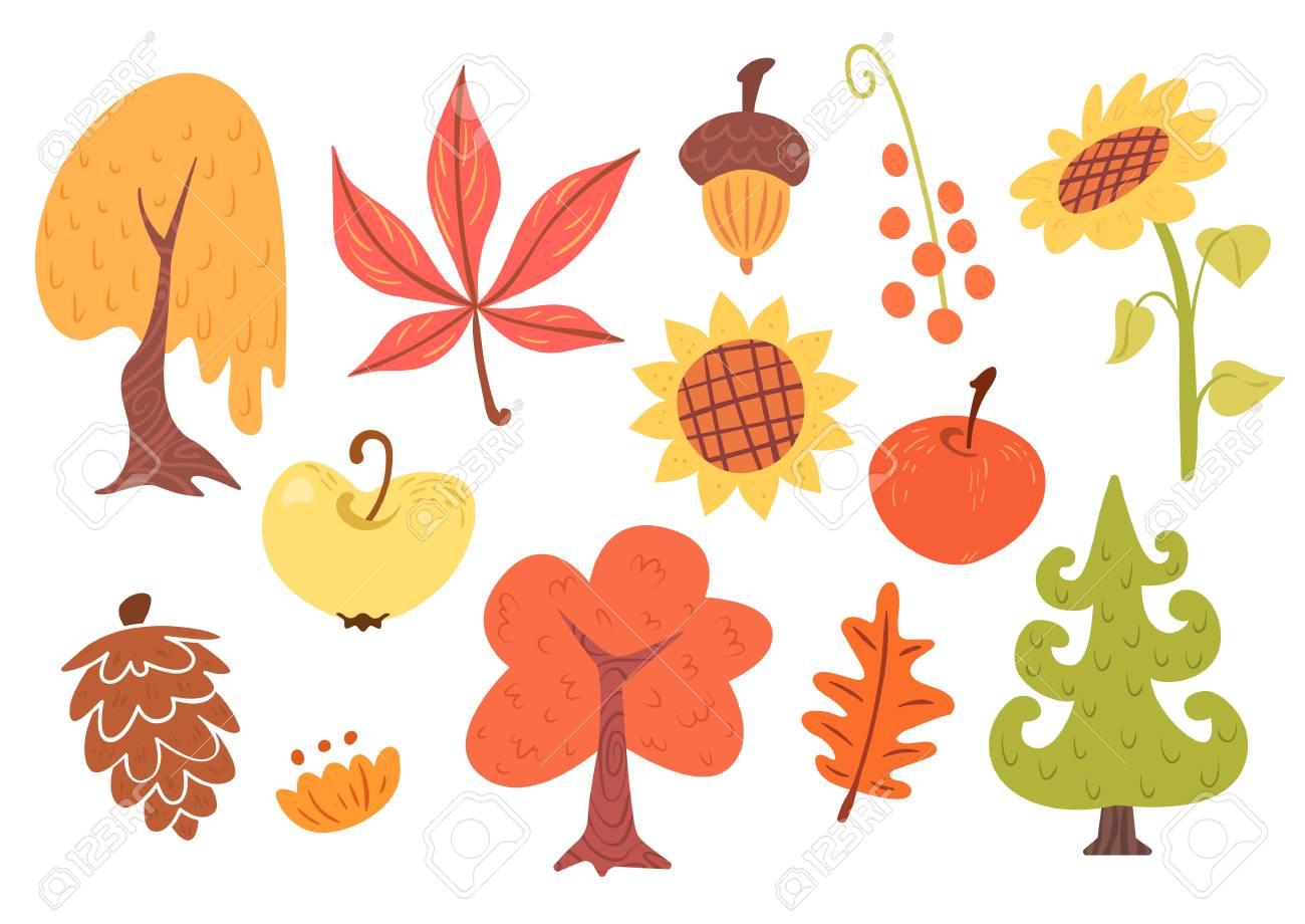 Conjunto De Dibujos Animados De Otoño De Plantas árboles Hojas Frutas Y Flores Aisladas Sobre Fondo Blanco