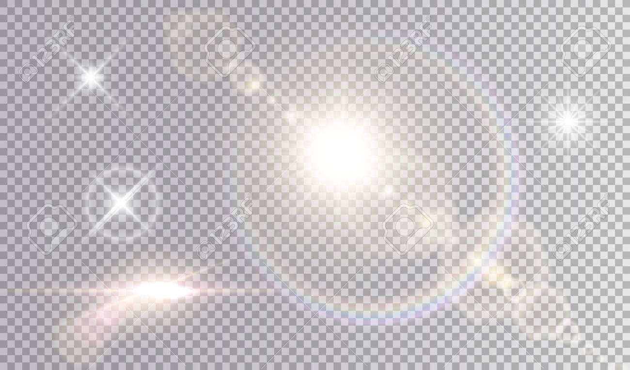 Set of shining light effects. Several white small stars, sun with lens flare and rainbow halo, cinematic spaceship glare. - 94153498