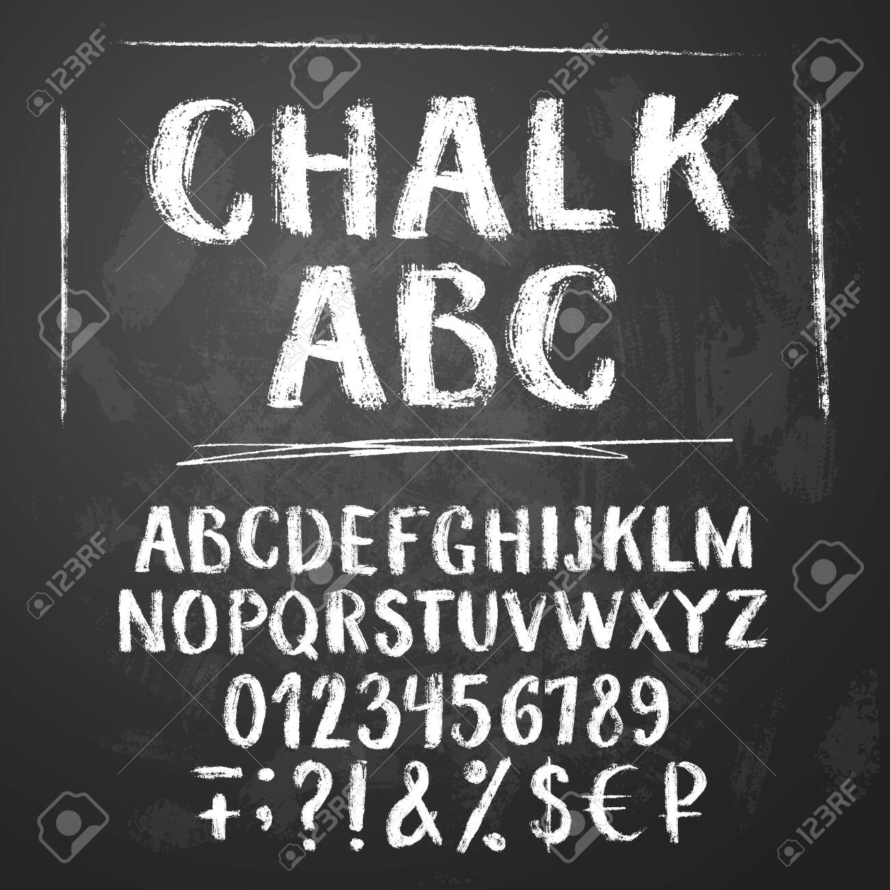 Rough chalk latin alphabet on textured chalkboard background. Uppercase letters, numbers, sumbols, money signs. - 131972268