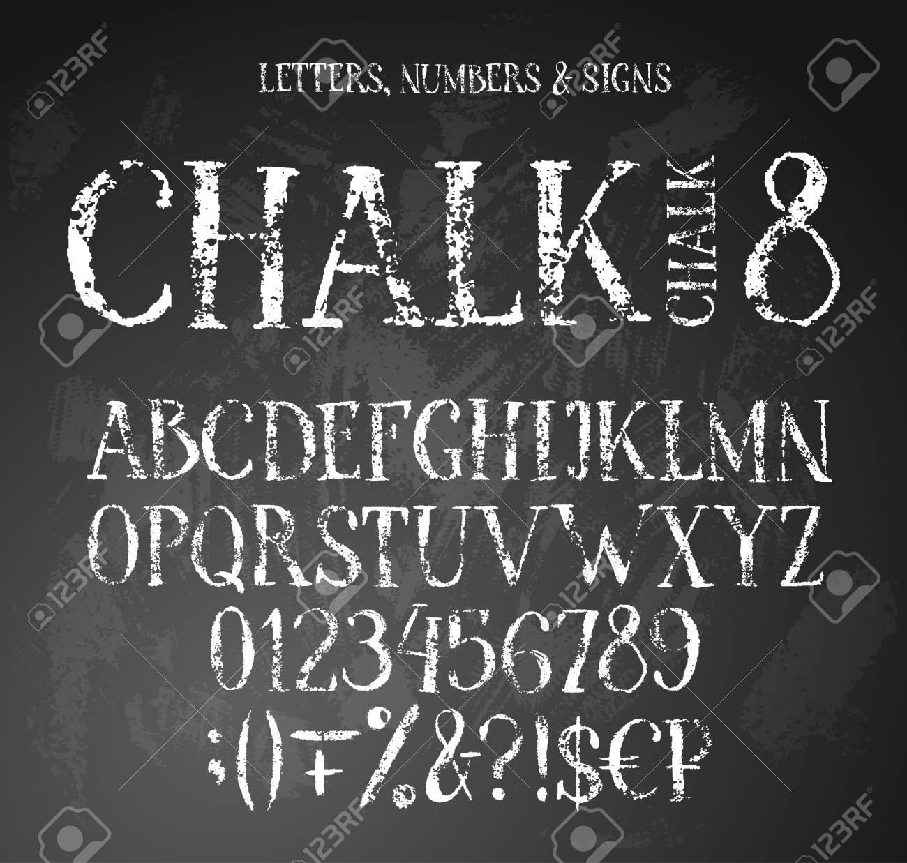 Chalk textured alphabet with uppercase english letters, digits, signs and money symbols - 123148659