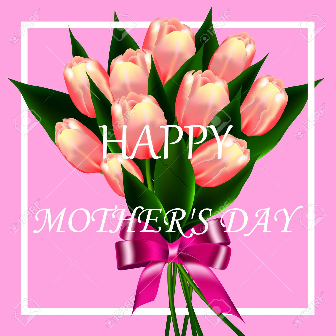 Happy mothers day lettering mom day greeting card with blooming happy mothers day lettering mom day greeting card with blooming tulip flowers vector illustration m4hsunfo