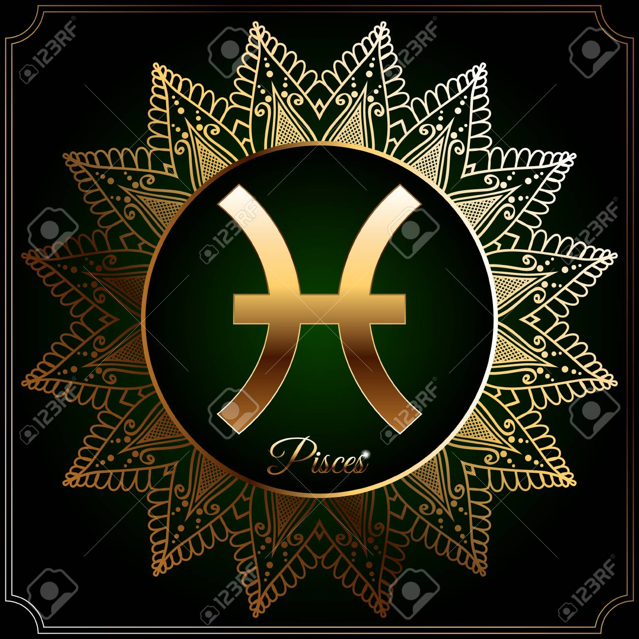 9556e2db2 Astrological zodiac sign in golden circle with oriental pattern. Pisces.  Stock Vector - 73427556