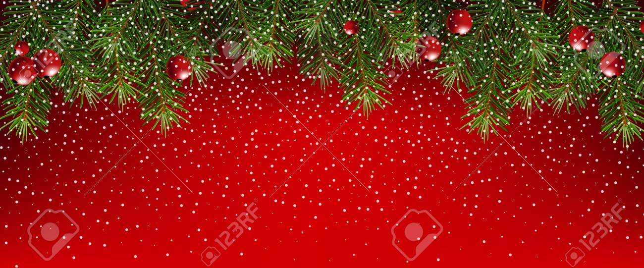 Christmas Banner.Realistic Fir Branches On A Red Background Christmas Banner
