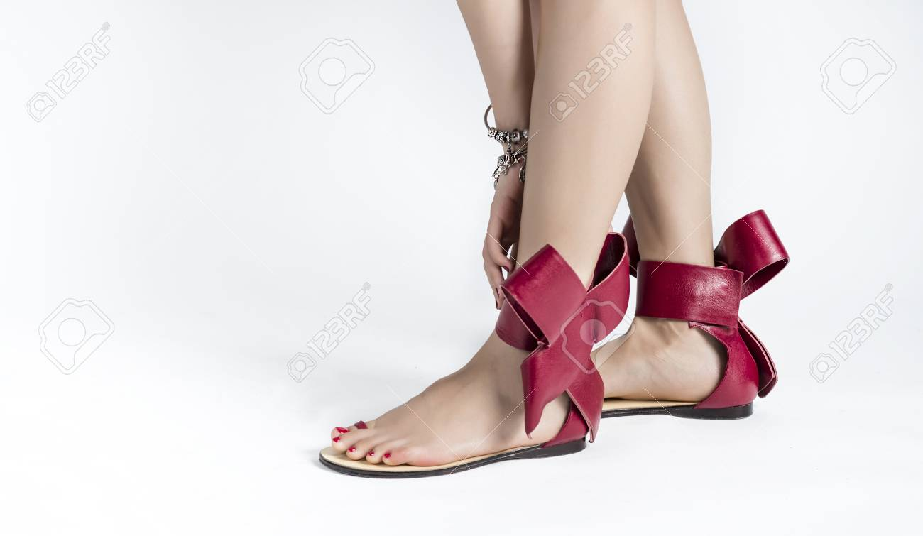 Red Sandal On A White Background. Stock