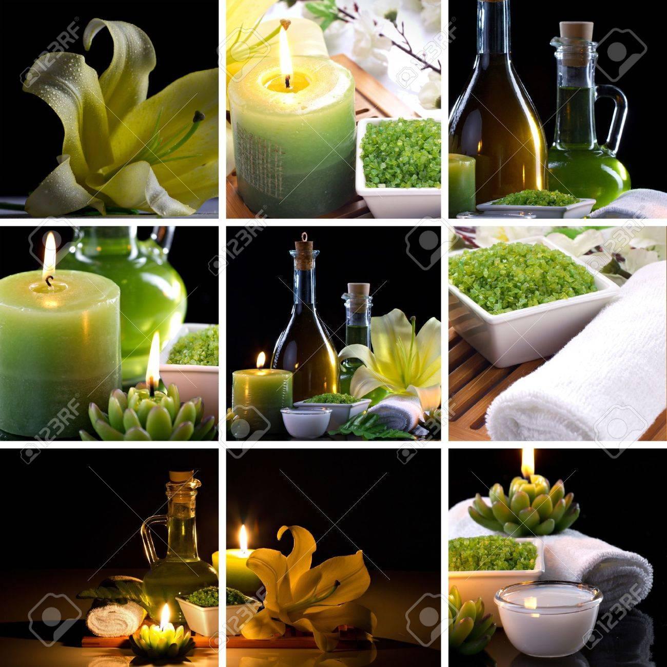 collage og spa accessories on dark background Standard-Bild - 14994591
