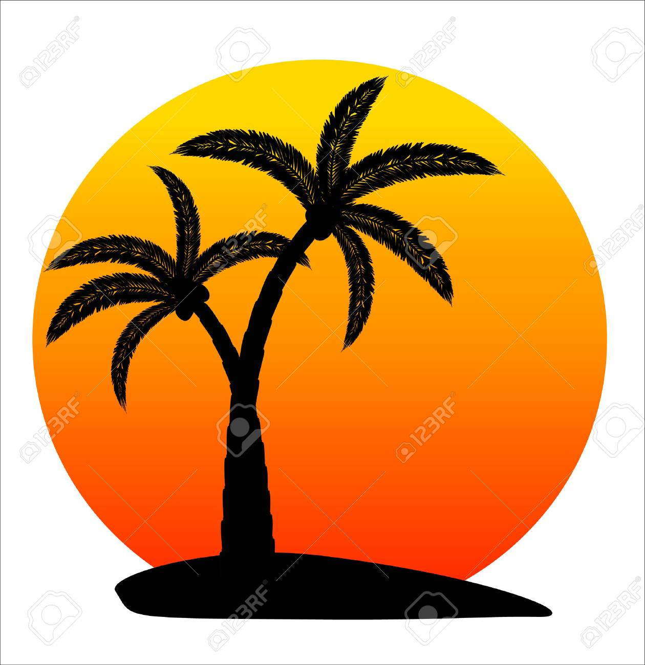 island with palm trees on sunrise on white background vector rh 123rf com