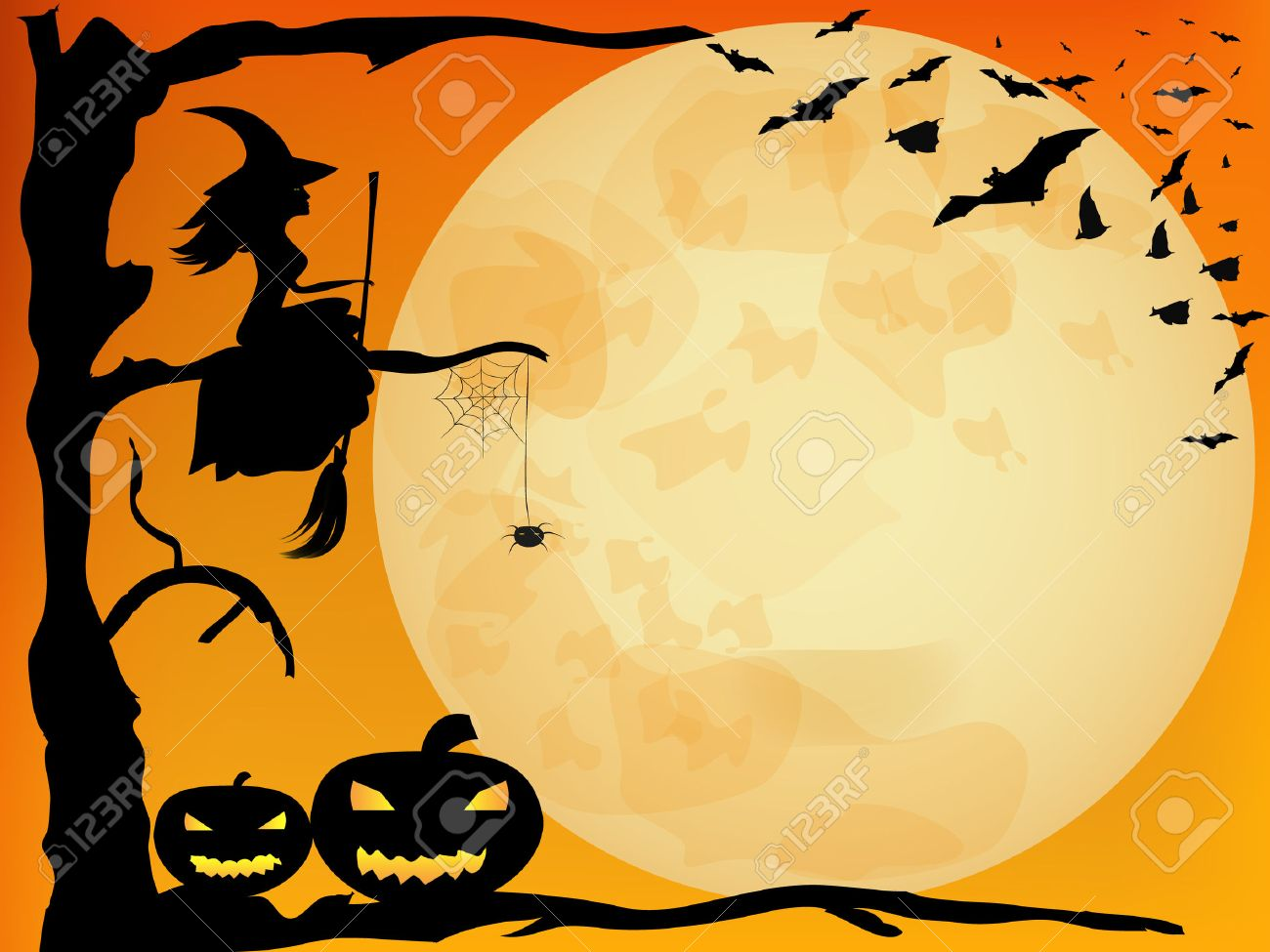 halloween design witch pumpkins spider and bats on orange moon background stock vector - Halloween Design