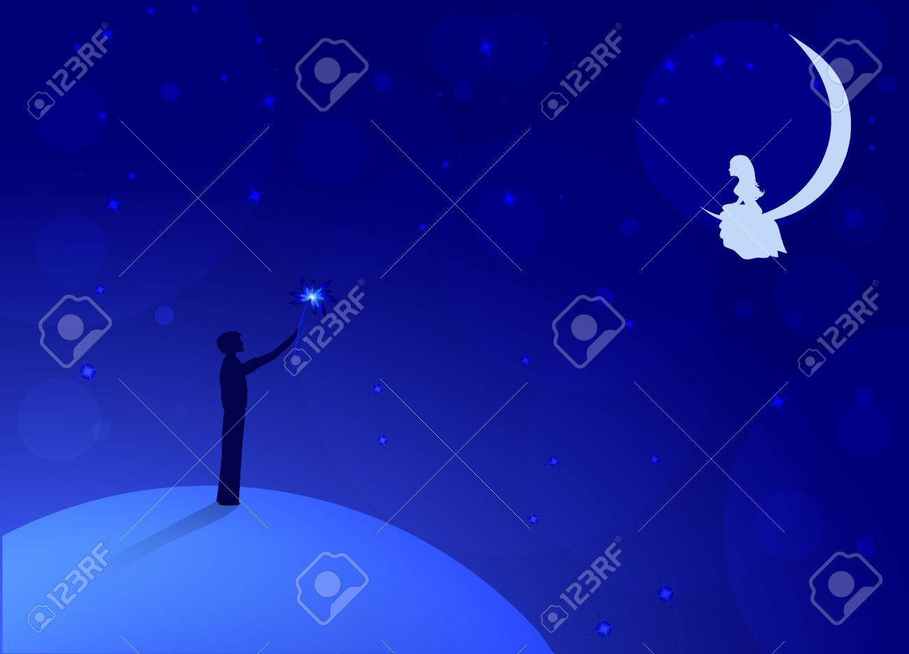 boy with big flower standing on light blue earth and look to
