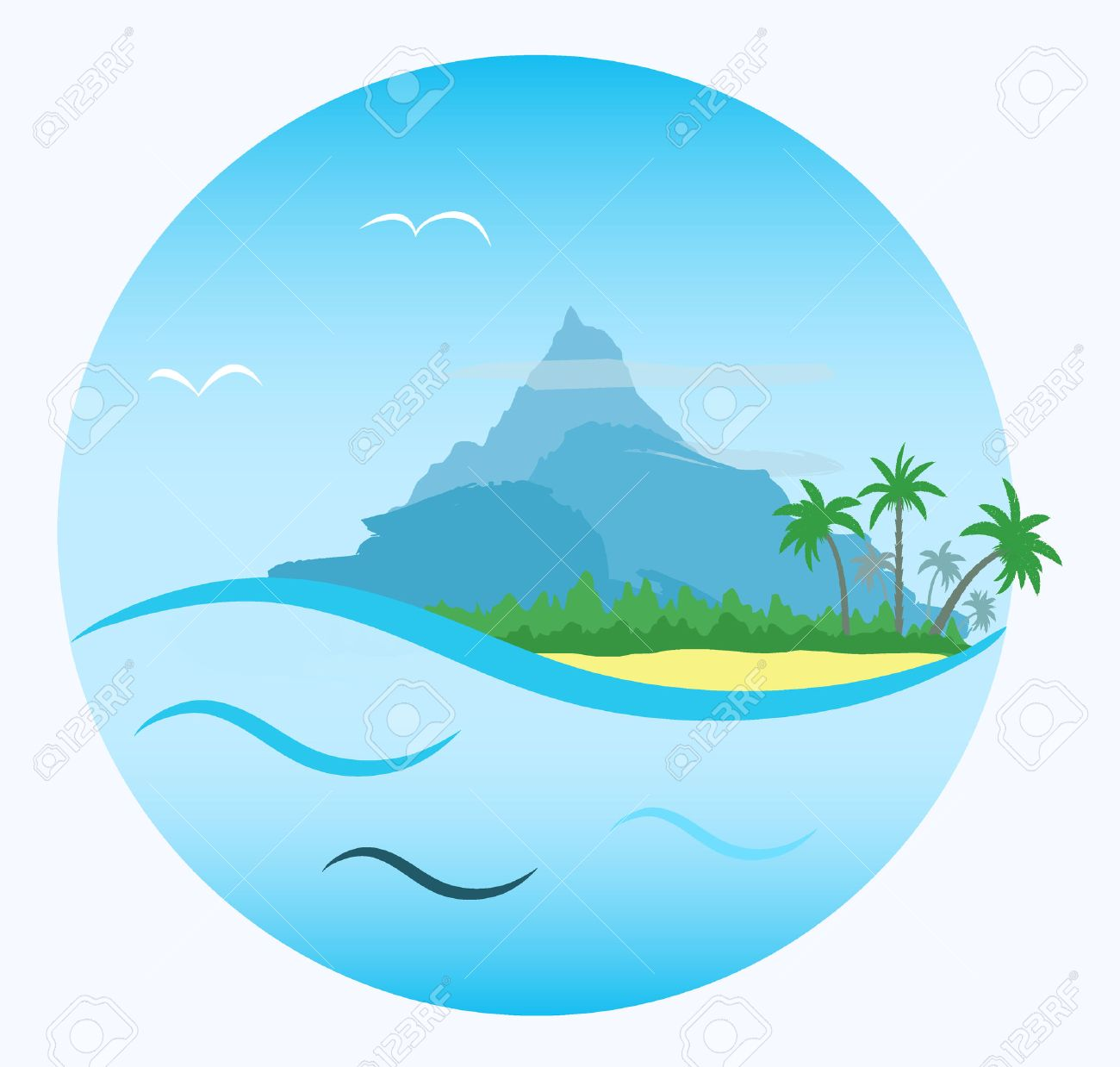 round cartoon label tropical beach with palms forest and mountain rh 123rf com