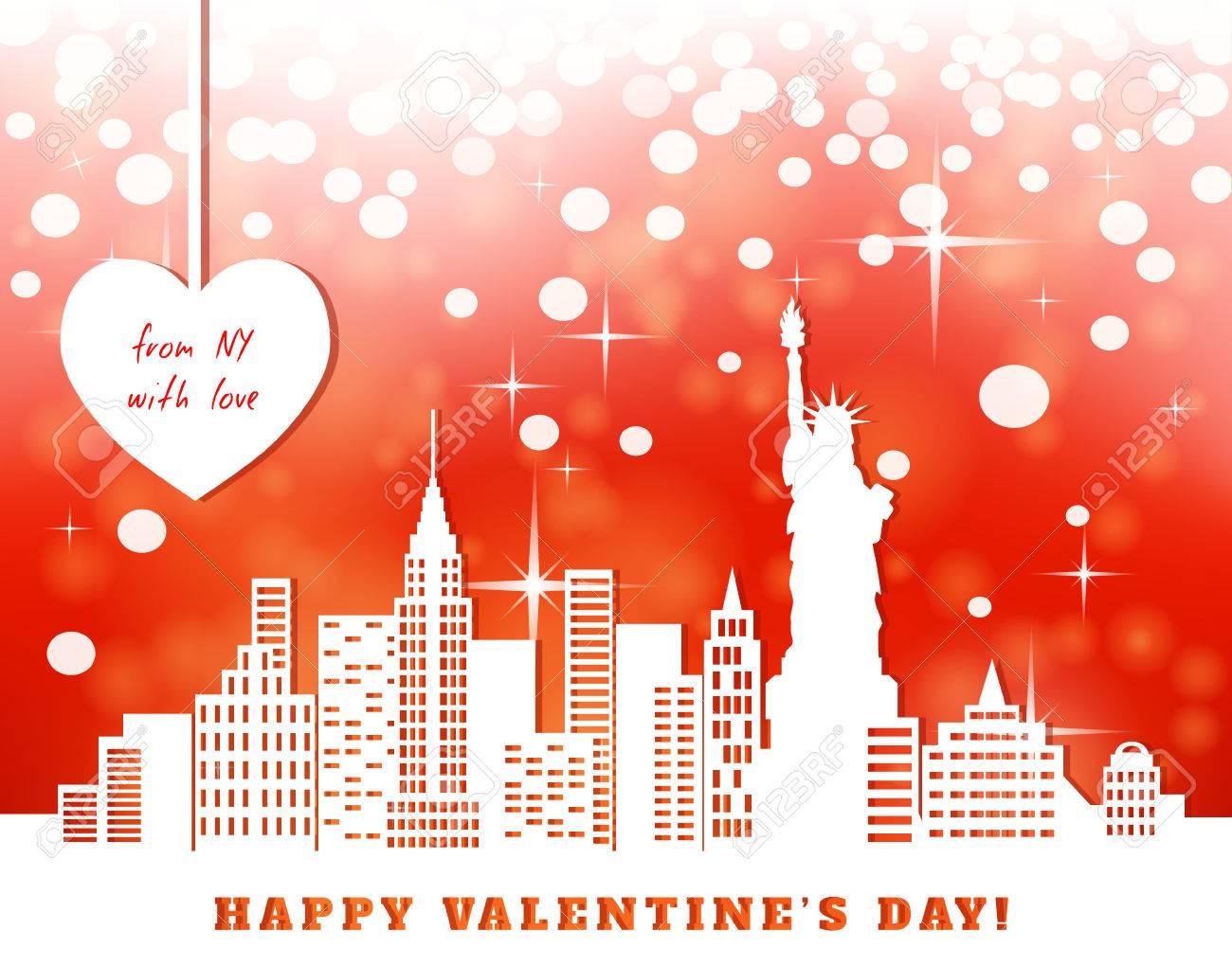 Valentine Greeting Card New York Downtown Statue Of Liberty