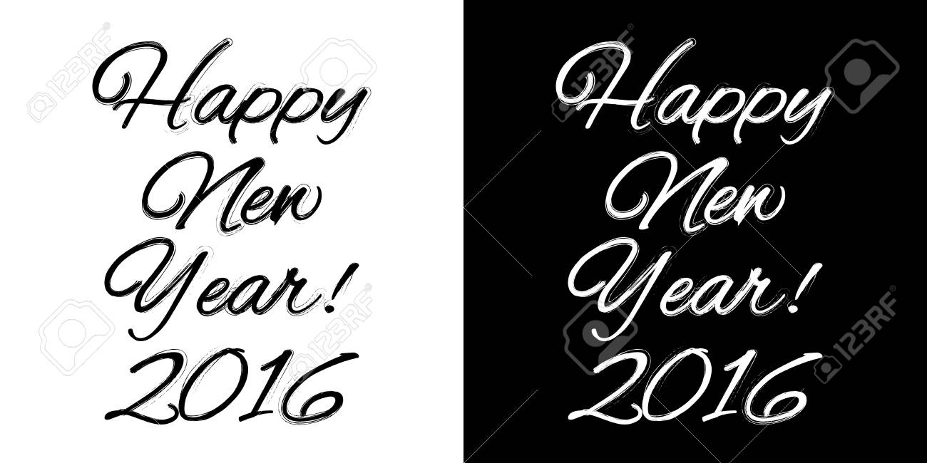 happy new year banner on a black and white background vector illustration stock vector