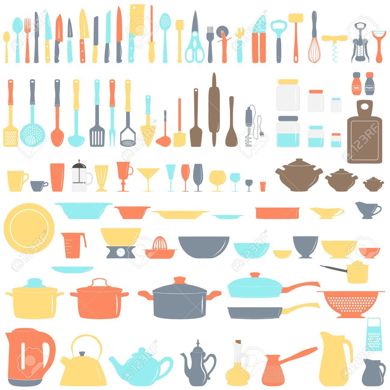 Set of kitchen utensils, vector illustration - 49425295