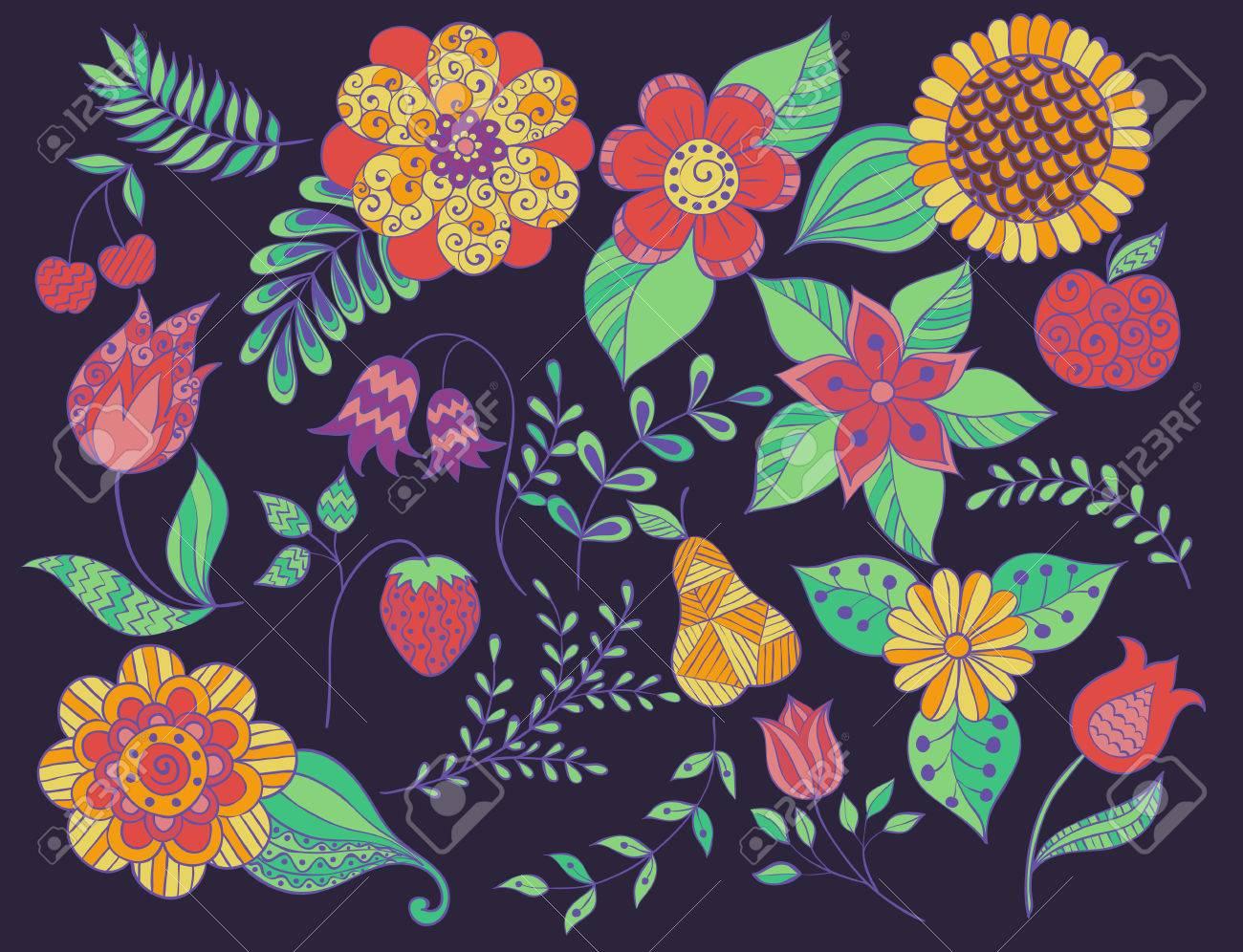 Set Doodle Blumen, Bunte Blätter, Früchte, Zweige, Blume. Farbe ...