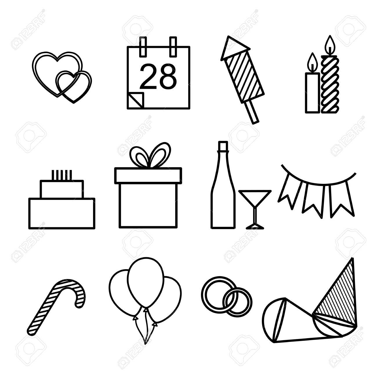 ベクトルの概要図は 祝日 正月 結婚式 誕生日やクリスマスのアイコンのセット 黒と白のシンボルの簡単なフォームのイラスト素材 ベクタ Image