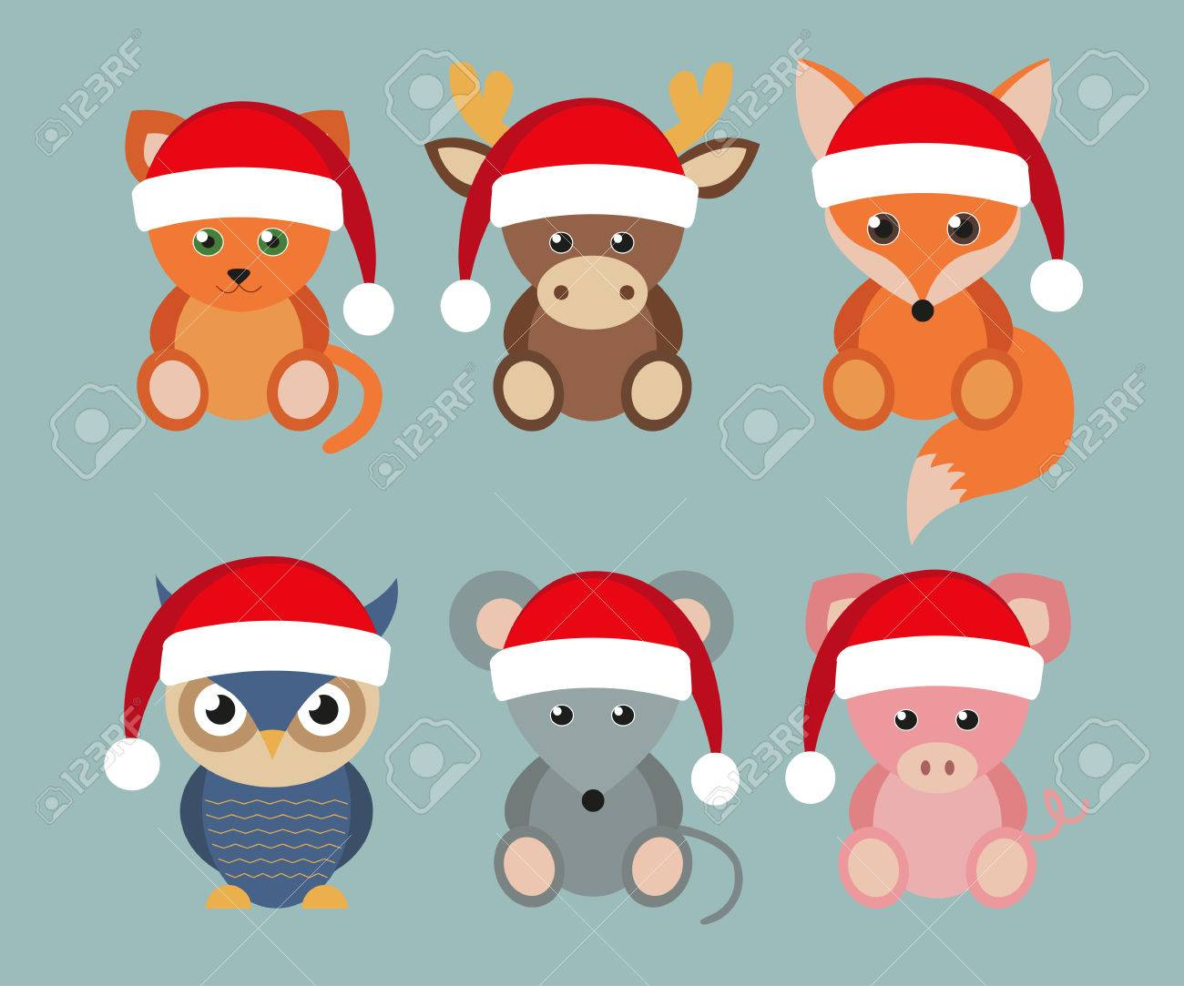 Set Of Funny Animals In Santa Hats Christmas And New Year Holidays