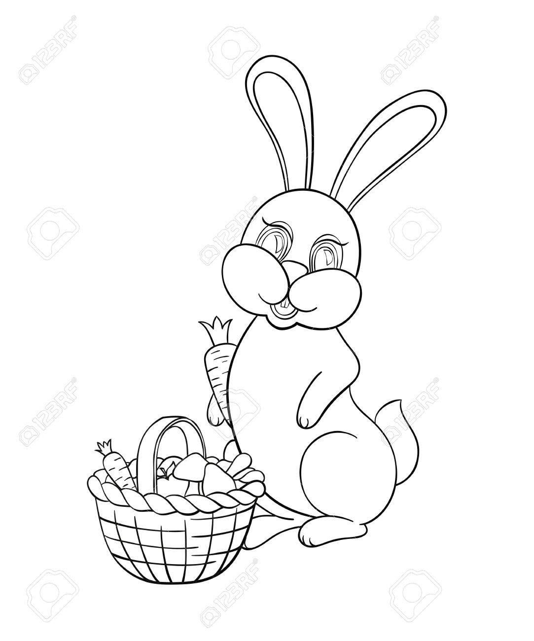 Vector Illustration Coloring For Kids With Rabbit To Collect