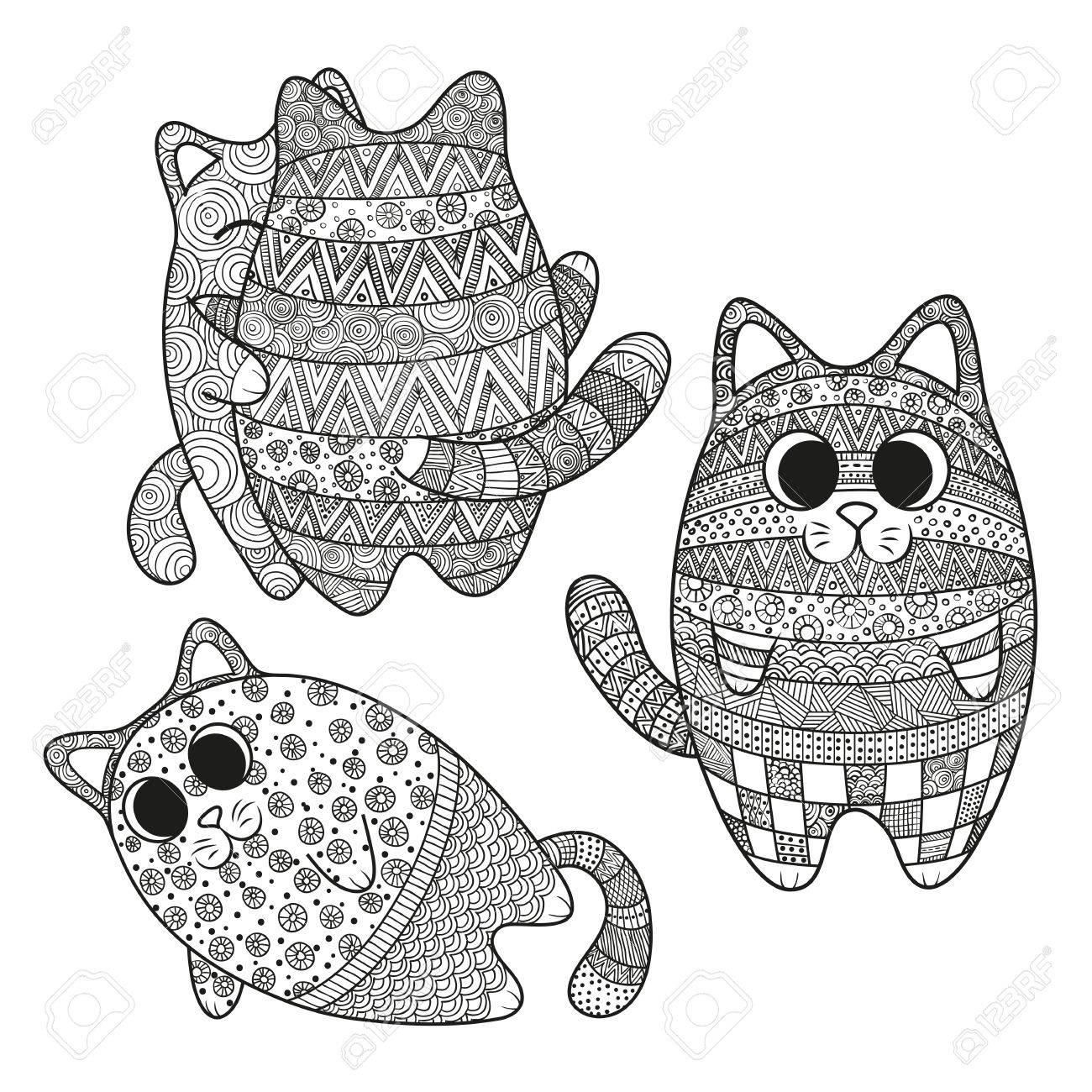 Conjunto De Ilustración Vectorial De Patrón De Gatos Boho Doodle Del ...