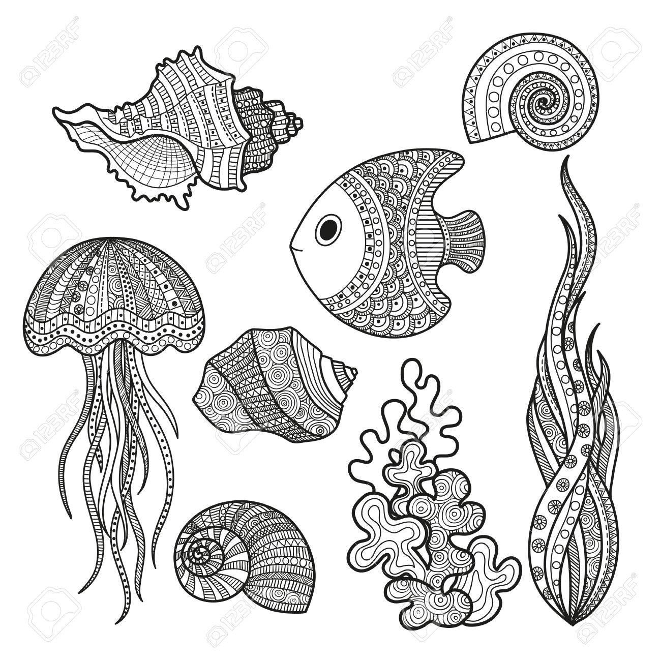 Ilustración Vectorial Conjunto De Peces De Vida Marina, Algas De ...