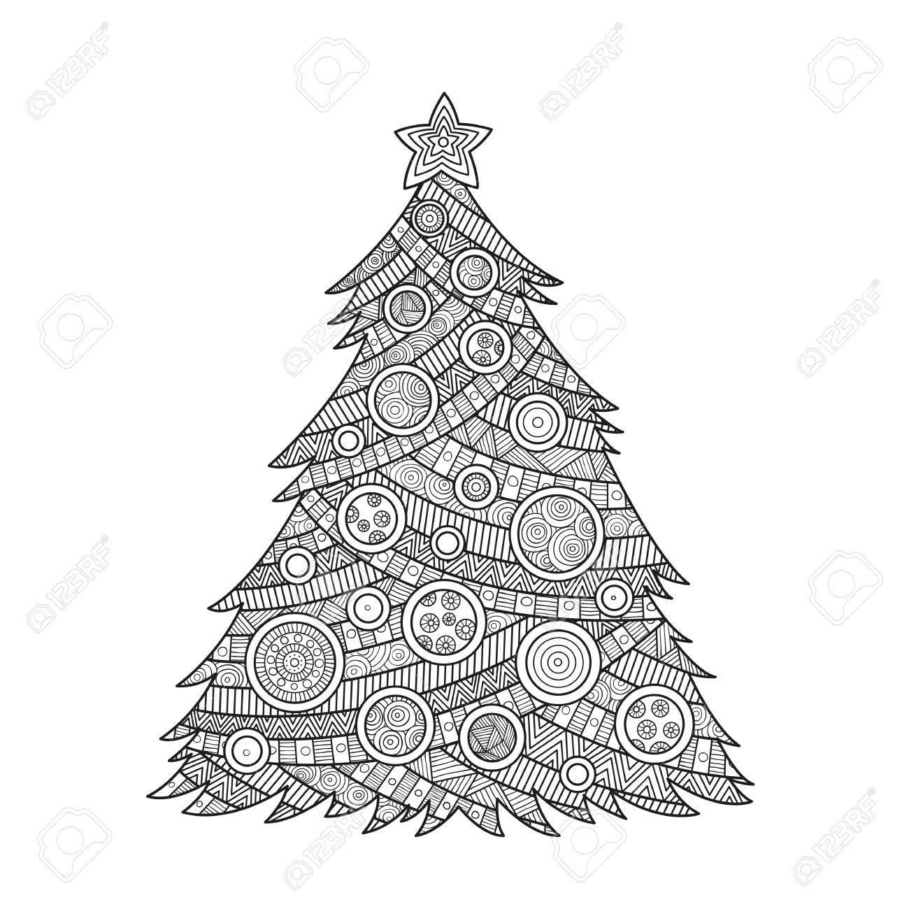 Las Ilustraciones Para Colorear De Navidad Para Los Adultos De Tinta Para Colorear árbol De Navidad Con Bolas Y Una Estrella Ornamento La