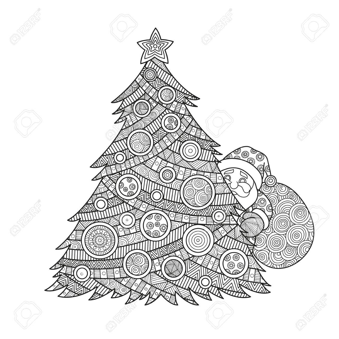 大人クリスマス ツリー クリスマス ボールと星でインクを着色サンタ