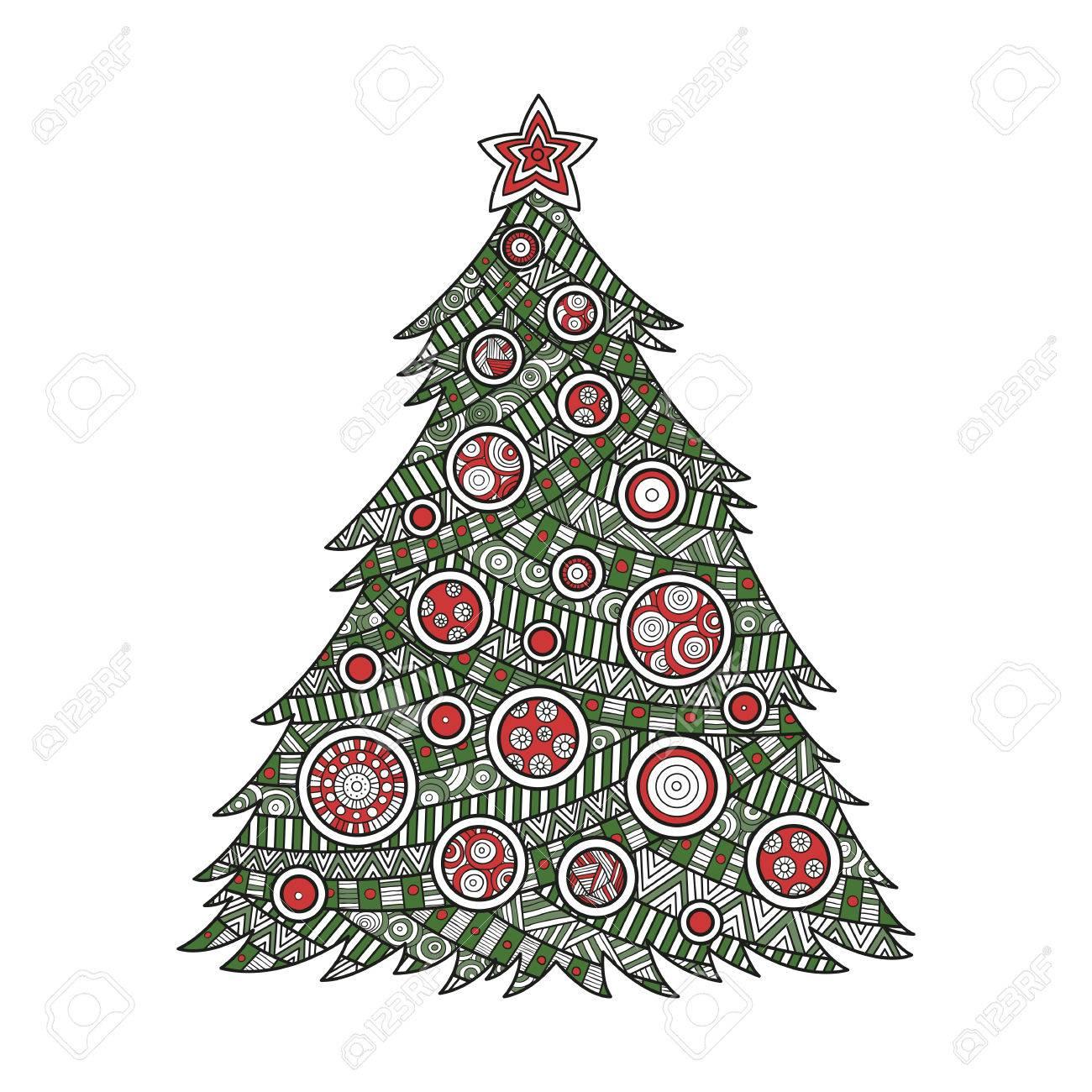 Illustration Couleur à Colorier Pour Les Adultes Sapin De Noël à Colorier Avec Des Boules De Noël Et Une étoile Ornement De Modèle Bonne Fête De