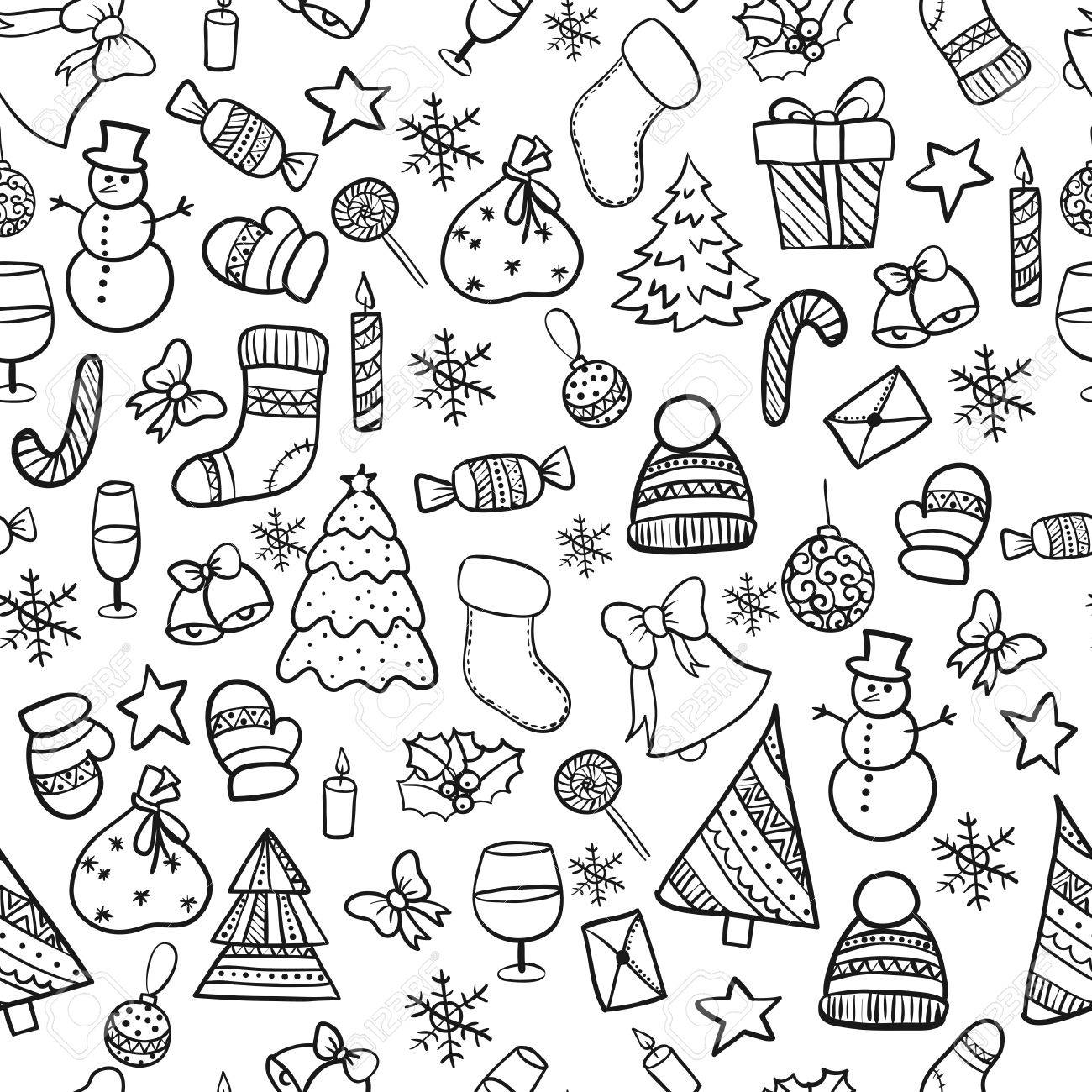 Illustration Seamless Pattern .Doodle Merry Christmas Elements ...