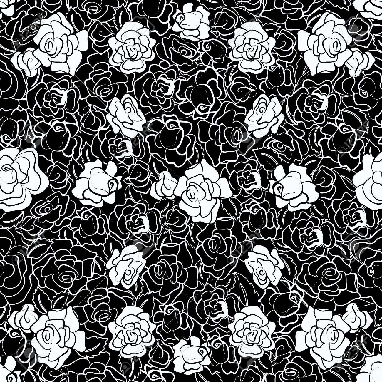 Black and White Rose Repeating Pattern Stock Vector - 9783305
