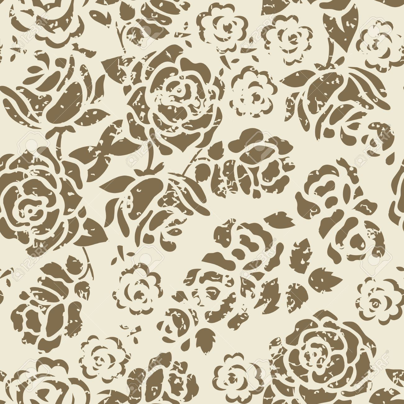 Grunge Seamless Floral Pattern Stock Vector - 10260123